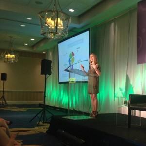 Lorrie Thomas Ross speaking at Vocus Marketing & PR Conference