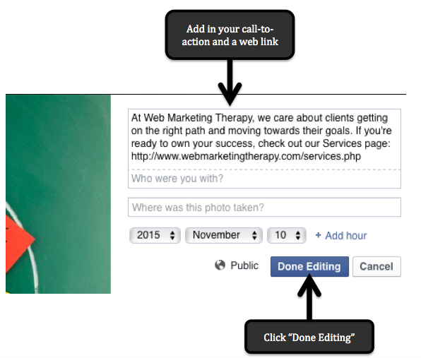 Web Marketing Tip: Adding a Link to Facebook Cover Image