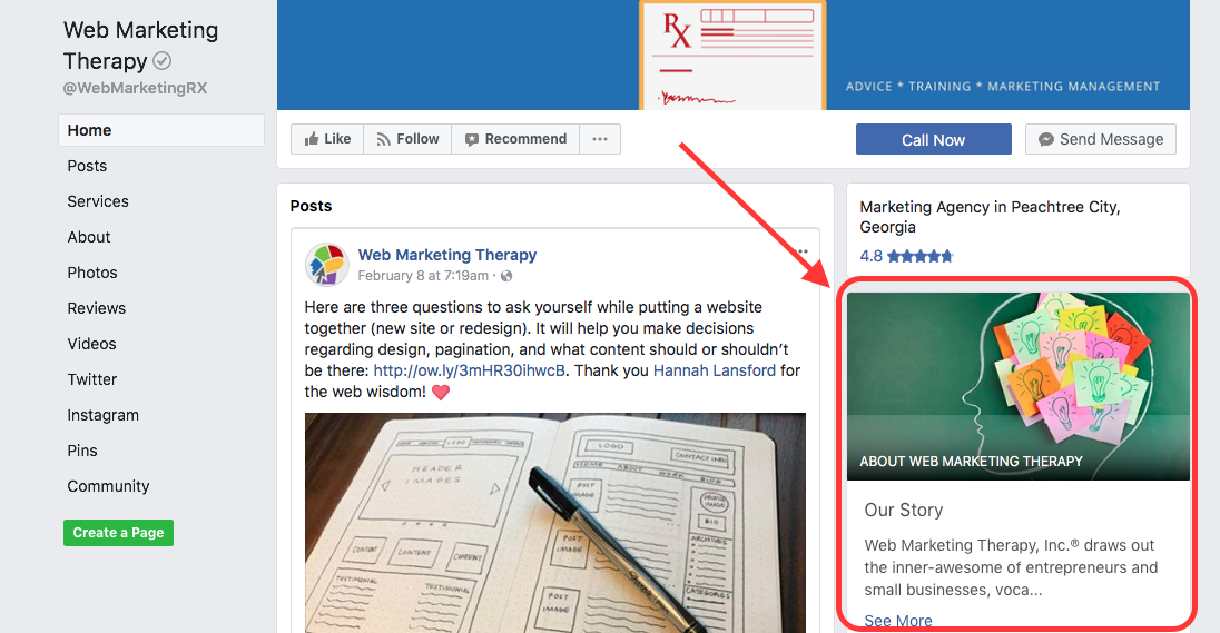 Web Marketing Tip: Share Your Facebook Story