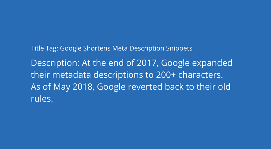 Google Shortens Meta Description Snippets